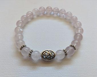 Rose Quartz and Silver Filigree Beaded Stretch Bracelet