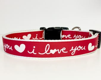 I Love You Valentine Dog Collar, Valentines, Love, Dog, Pet, Gift, Holiday
