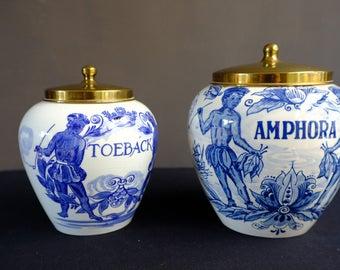 Tabackpot Amphore Delft Blue & Goedewegen Gouda-20th century