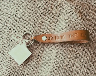 Leather 'The day I became mummy/daddy' Keyring