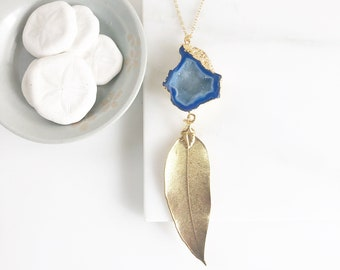Long Gold Leaf and Blue Druzy Necklace in Gold. Druzy Pendant Necklace. Druzy Necklace. Boho Necklace. Jewelry. Gift.