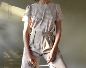 80s silky taupe puff sleeve blouse with diagonal stripes // xs-m
