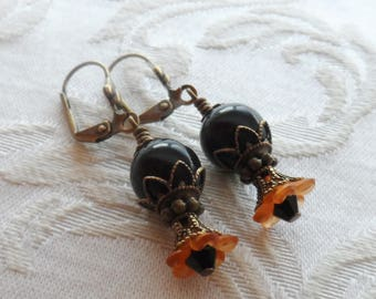75% Off Clearance Sale, Lily Blossom Earrings, Vintage Beads, Black and Orange