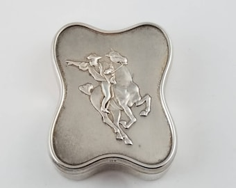 Vintage sterling silver snuff box RARE Paul Revere's Ride silver box vintage jewelry holder unique gift for him groom gift PR2157
