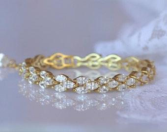 GOLD Crystal Bracelet, Gold Bridal Bracelet, Tennis Bracelet, FELICITY G
