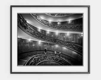 Rome Print, Rome Photography, Spiral Staircase, Geometric Art, Stairs, Abstract Art, Architectural, Living Room Decor Office Large Wall Art