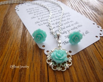 Rose Filigree Necklace and Earring Set, Flower Girl Necklace, Flower Girl Gift, Flower Girl Jewelry, Childrens Jewelry, Childs Jewelry