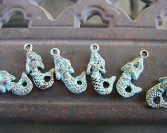 6 pcs  Brass Mermaid CharmsHandmade Faux Patina Verdigris 3D  - 22 x 12mm nautical aged distressed ships from USA