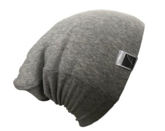 Hat for children; slouchy beanie. Jersey; Unisex. pale grey