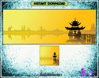Facebook Cover and Profile Image Design Set , Asian Design.
