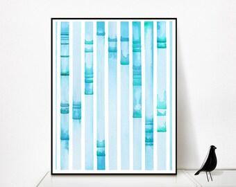Electrophoresis 7, science, science art, science print, genetics, cyan art, dna, dna art, dna painting, science gift, watercolor
