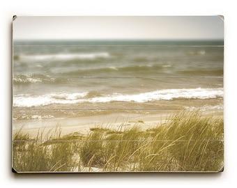 Wood Sign: Beach Decor Wood Plank Art, Lake Michigan Photo, Nautical Decor, Seascape on Wood Planks, Lake Michigan Shore Line