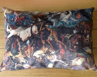"the fall of the rebel angels - 14"" x 20"" velveteen pillow case - pieter bruegel the elder, 1562"