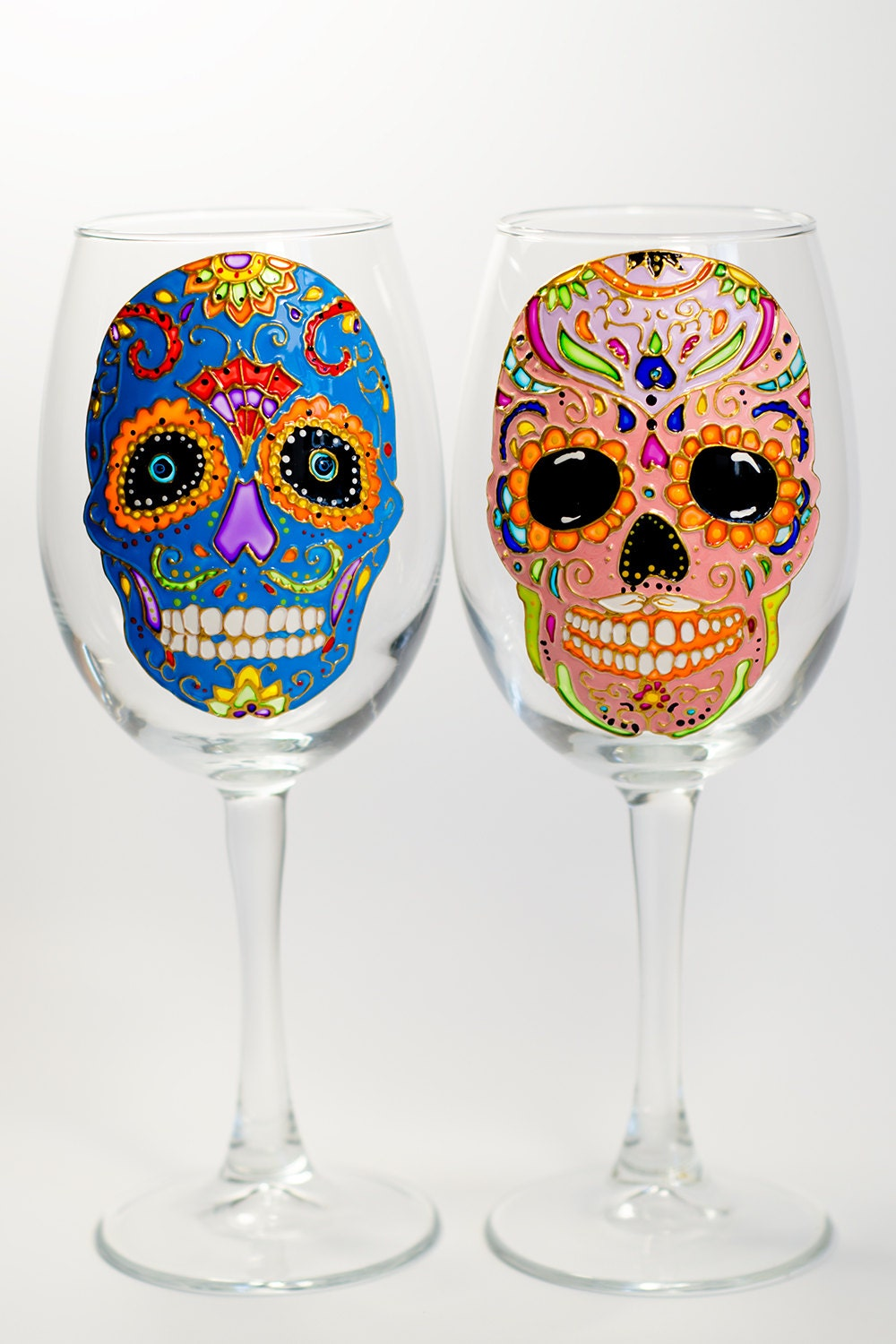 Skull Wine Glasses Halloween Party Favor Day of the Dead