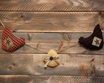 Chicken Garland-Primitive Easter Eggs Garland-Primitive Chickens- Primitive Wall Decoration-Easter Decorations-Rustic Country Decor