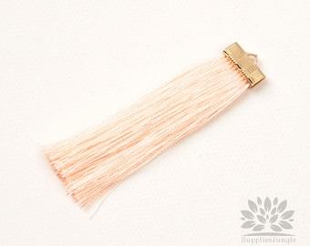 T021-LP// Light Peach Rayon with Gold Plated Flat Rectangle Cap Tassel Pendant, 2pcs, 65mm