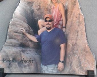 Personalized photo on slate