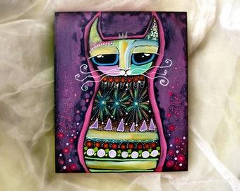 Colorful cat painting on wooden panel,1.5 in deep,original pop art,cat decor