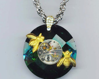Steampunk Watch Movement . Bronze Bee Pendant . Iridescent Green Crystal . Halloween. Faceted Rhinestone - BEE Mine by enchantedbeas on Etsy