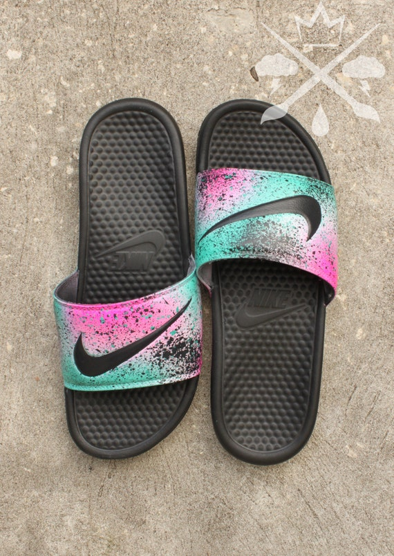 Nike Custom LeBron 8 Miami Nights Benassi Swoosh Slide Sandals Flip flops  Men's
