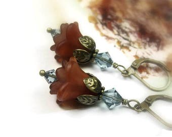 Boho Floral Earrings, Swarovski Crystal Flower Earrings, Café au lait Brown, Gifts for Gardeners, Flower Jewelry, Birthday Gifts for Mom