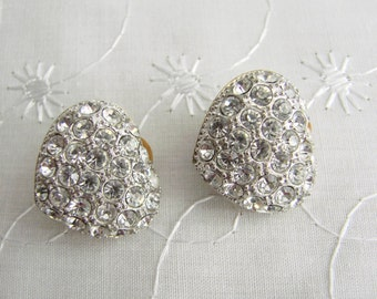 Vintage Sparkling Crystal Abstract Heart Clip On Earrings, From England in the 1980s, Formal earrings, Evening wear, Wedding earrings