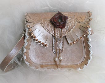UNIQUE spirit fairy elven wedding romantic tooled leather bag
