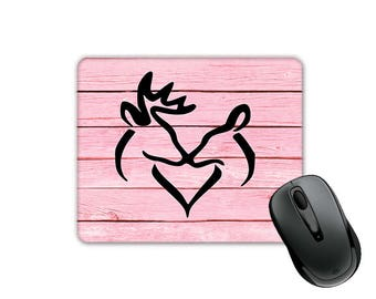 Pink Color Wood Pattern Deer Heart Buck and Doe Kissing (SQUARE) Mouse Pad
