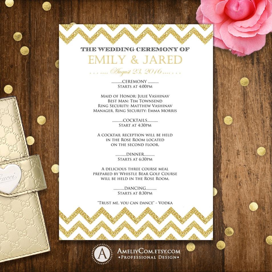 Printable Programs Gold Chevron DIY Wedding Ceremony Program