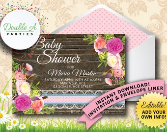 Vintage Floral Baby Shower Invitation - Rustic Baby Shower, Girl Baby Shower Invitation, Flowers, wood and lace, Self-Editable Invitation