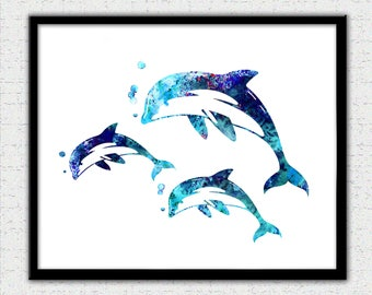 Dolphin print, blue, purple, aqua dolphins, dolphin painting, dolphin art, dolphin watercolor, dolphin silhouette, 3 dolphin illustration