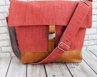 Lulu Large Flap Messenger Satchel  - Red Denim and PU Leather READY to SHIP  Travel Business Nappy Bag Stroller Attachment
