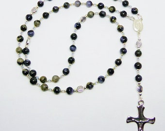 Catholic Five Decade Rosary with Blue Llanite Quartz, Aquamarine and Sterling Silver
