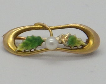 14K Nouveau Enamel and Seed Pearl Floral Brooch