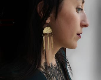 CIVAL Collective - Aris | Half Moon Earrings | Organic Hand Textured Brass | Metal Fringe | Crescent Earrings | Lunar | Long Earrings