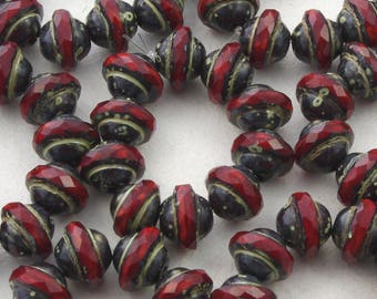 Red Opaline Picasso Faceted Saturn Beads 10mm - 10