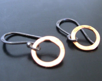 copper and sterling earrings - the tinies  - oxidized sterling silver