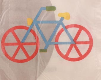 Vintage 2 Sealed Packages of Luncheon Napkins (Bicycle) by Marimekko.