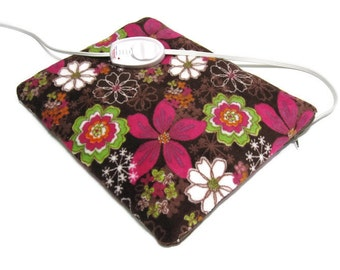 Luxury Heating Pad Cover*   Plush Chocolate Brown & Fuschia Floral - Gift for Her