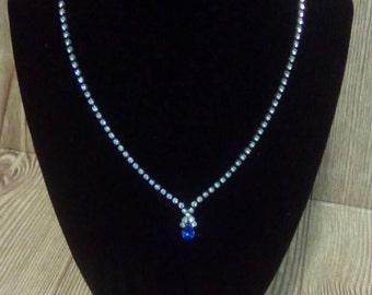Vintage Jewelry |Costume Jewelry | Blue Rhinestone Necklace | Wedding Jewelry | Prom Jewelry | Something Blue