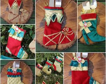 Cutlery Holder Set Holiday Table Decoration Custom Stocking Set READY To SHiP