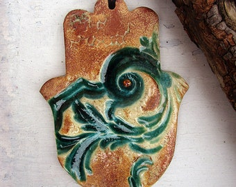 Hamsa Wall Hanging, Handmade Pottery Textured Hamsa with Green Glaze, Good Luck Charm, Ready to Ship.