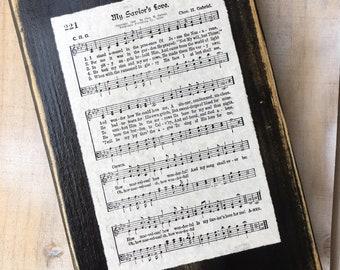My Savior's Love Vintage Hymn Sign Display