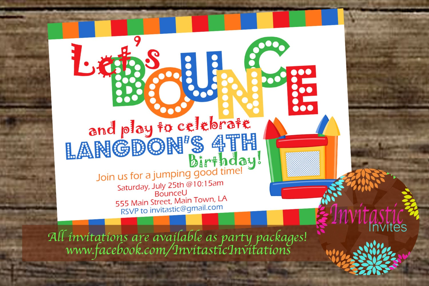 Bounce House Birthday Invitation Bounce House Invite Jump