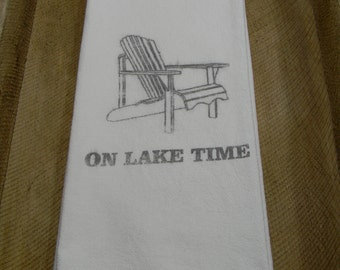 Flour Sack Tea Towels-On Lake Time