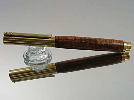 Handcrafted Fountain Pen, Durable Industrial Style, Brass with Curly Koa