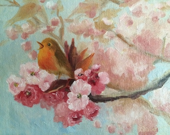 Oil Painting • Original Art • Oil Paintings • Daily Painters • Daily Painting • Warbler • Pink Blossoms