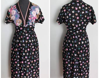 Vintage Flower Babe 70s Dress - 60s 70s Serbin Dress - Size XS, S, Extra Small, Small