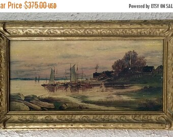 Sale Antique Oil Painting Early 20th C. Maritime Seascape Fishing Boats European Genre Art O/B Signed Framed
