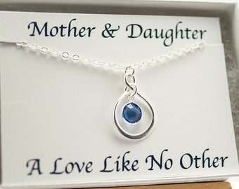 Birthstone Necklace with Card Infinity Necklace September Birthday Gift for Mom New Mom Gift Sapphire Mothers Day from Daughter